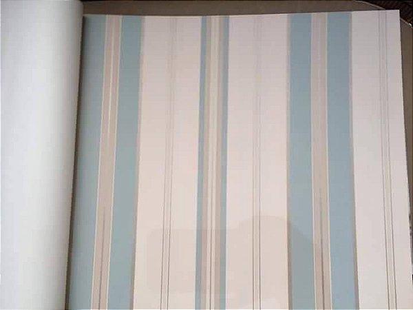 Papel de Parede Vinílico - Listras (Verde Acinzentado/ Tons de Bege/ Detalhes com Brilho)  BCSS-889062