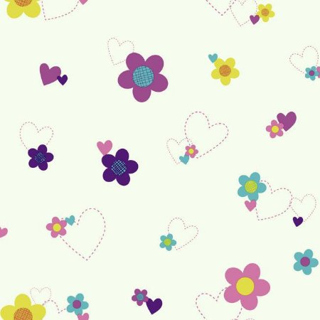 Papel de Parede Flores e Corações Disney York II DS7681