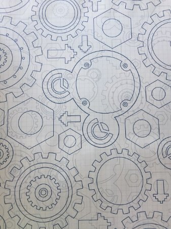 Papel de Parede Engrenagens e Mickey (Azul/ Cinza/ Branco) - DS7798