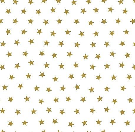 Papel de Parede Estrelas Pequenas Dourada com Brilho Bobinex Renascer 6212 Vinílico