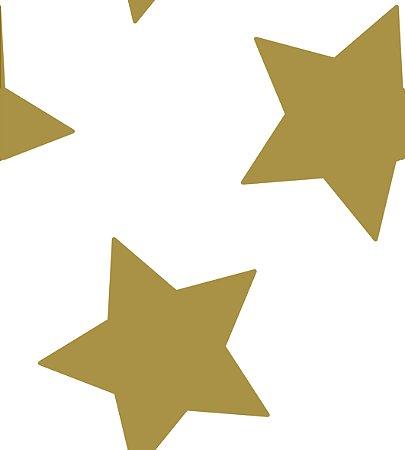 Papel de Parede Estrelas Grandes Dourada com Brilho Bobinex Renascer 6213 Vinílico