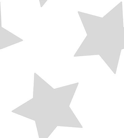 Papel de Parede Estrelas Grandes Prata com Brilho Bobinex Renascer 6215 Vinílico