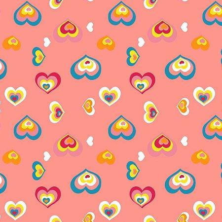 Papel de Parede Corações Tons de Rosa Kawayi 312201 Vinílico