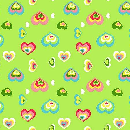 Papel de Parede Corações Verde Kawayi 312204 Vinílico