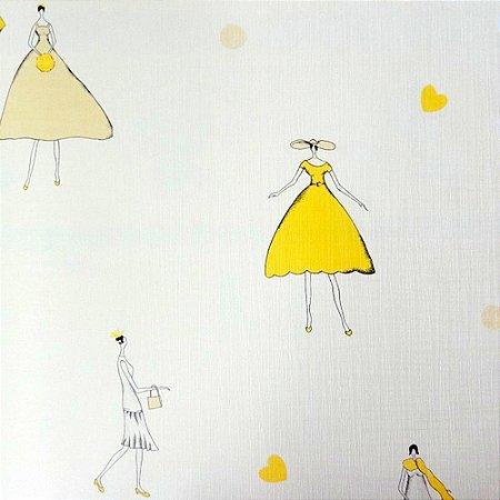 Papel de Parede Moda Tons de Amarelo e Bege Claro Kawayi 312304 Vinílico