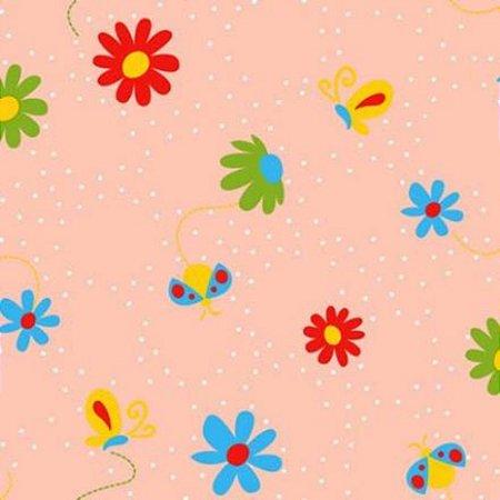 Papel de Parede Flores e Borboletas Rose Kawayi 312802 Vinílico