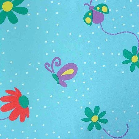 Papel de Parede Flores e Borboletas Azul Kawayi 312805 Vinílico