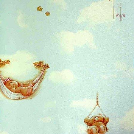 Papel de Parede Ursinhos nas Nuvens Azul Kawayi 313501 Vinílico