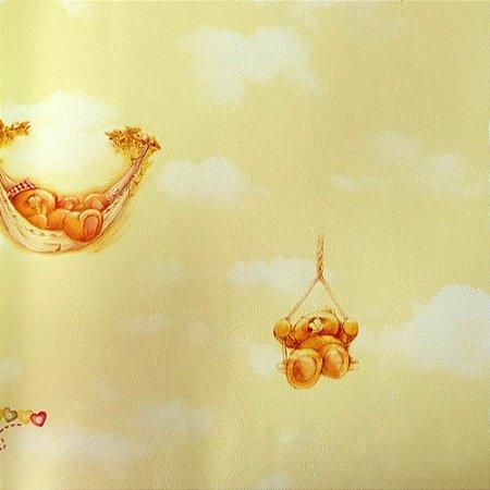 Papel de Parede Ursinhos nas Nuvens Tons de Amarelo Kawayi 313504 Vinílico