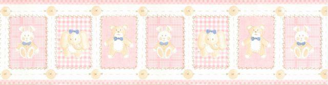 Faixa Bichinhos Rosa (urso, elefante e coelho) - 5507