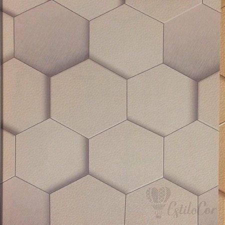 Papel de Parede Geométrico 3D Bege Acinzentado Kantai Grace Vinílico GR920802