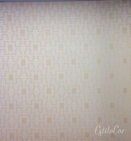 Papel de Parede Geométrico Estilizado Tons de Bege com Brilho Kantai Grace Vinílico GR920903