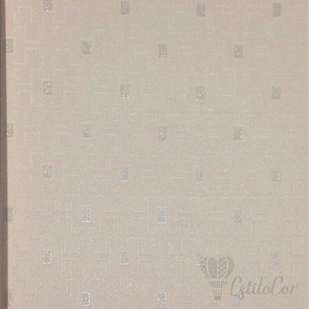 Papel de Parede Geométrico Estilizado Off-White com Brilho Kantai Grace Vinílico GR920901