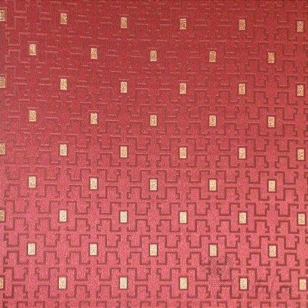 Papel de Parede Geométrico Estilizado Vinho e Dourado com Brilho Kantai Grace Vinílico GR920905