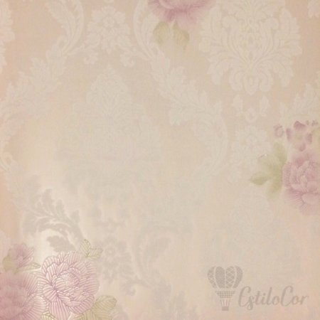 Papel de Parede Floral Adamascado Tons de Lilás e Relevo Kantai Grace Vinílico GR922003