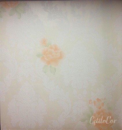 Papel de Parede Floral Adamascado Bege Claro e Relevo Kantai Grace Vinílico GR922001