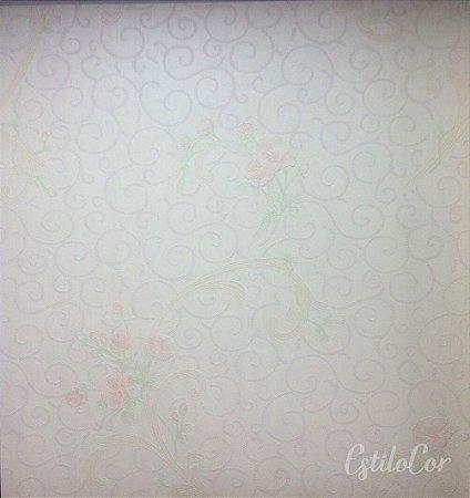 Papel de Parede Arabesco e Flores Creme e Salmão e Relevo Kantai Grace Vinílico GR921504