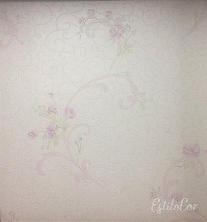 Papel de Parede Arabesco e Flores Tons de Lilás com Brilho e Relevo Kantai Grace Vinílico GR921502