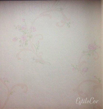 Papel de Parede Arabesco e Flores Bege Claro e Rosa com Brilho e Relevo Kantai Grace Vinílico GR921501