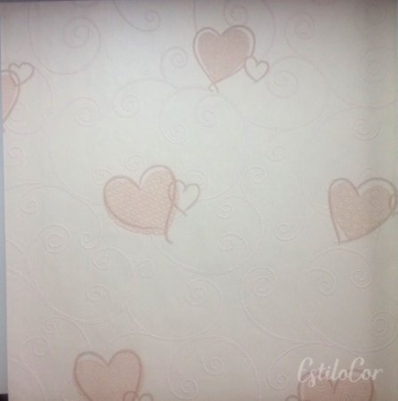 Papel de Parede Corações Tons de Bege Leve Brilho e Relevo Kantai Grace Vinílico GR921604