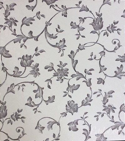 Papel de Parede Floral Off-White e Cinza Vinílico