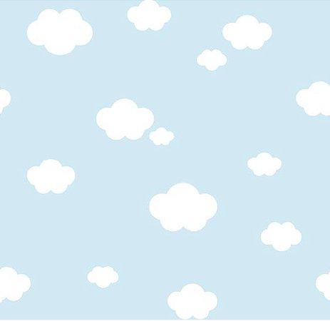 papel de parede treboli nuvem azul estilocor. Black Bedroom Furniture Sets. Home Design Ideas