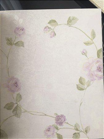 Papel de Parede - Roseira (Lilás/ Verde/ Off-White mesclado com Lilás/ Leve Dourado/ Levíssimo Relevo)
