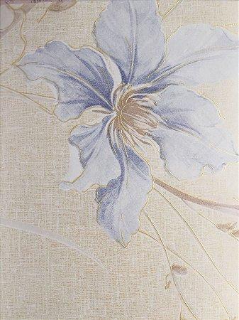 Papel De Parede Vinilico Floral Delicado Tons De Azul Bege Reflexo Dourado Leve Relevo E Brilho