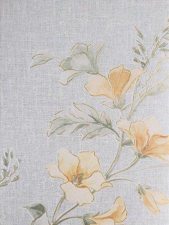 Papel de Parede Vinílico Floral Delicado (Tons de Azul/ Bege/ Reflexo Dourado/ Leve Relevo e Brilho)
