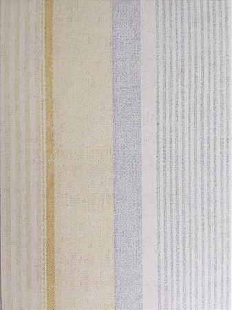 Papel de Parede Vinílico  Listras (Azul Claro/ Creme/ Leve Dourado/ Leve Brilho)