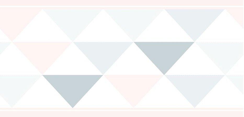 Faixa de Parede Triângulo Rosa e Cinza