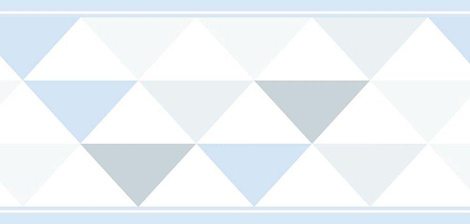 Faixa de Parede Triângulo Azul e Cinza