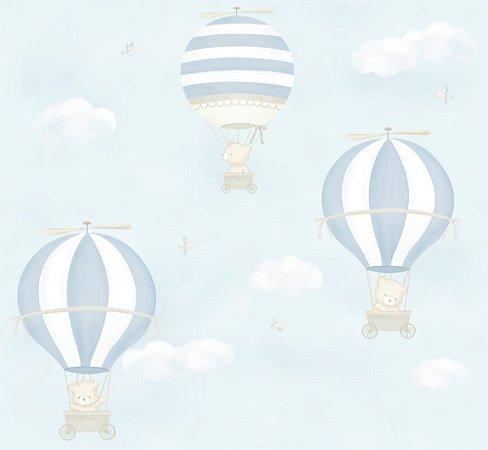 Papel de Parede Balão Urso Azul