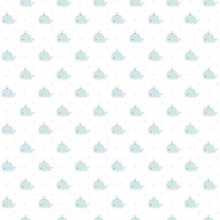 Papel de Parede Lullaby Baleia Verde Claro 2232