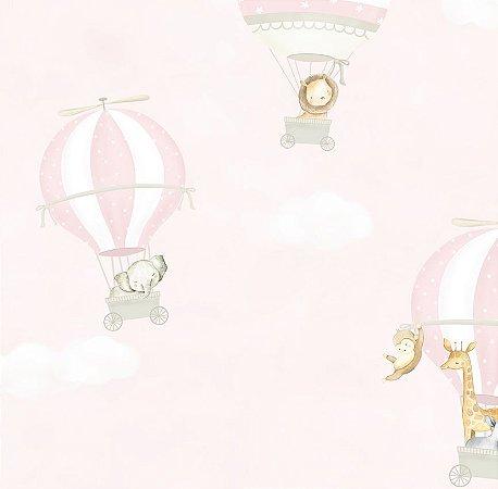 Papel de Parede Balão Animais Rosa