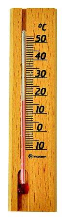Termômetro Ambiente Com Base Em Madeira Incoterm TA 229.05.1.00