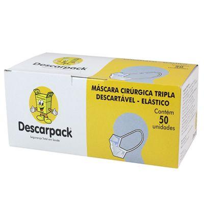 Máscara Cirúrgica Descarpack Descartável Tripla com  Elástico Branca 50un