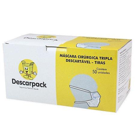 Máscara Cirúrgica Descarpack Descartável Tripla com Tiras  Branca 50 unidades