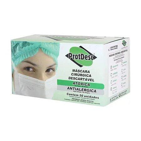 Máscara Cirúrgica Protdesc Descartável Tripla com Elástico Branca 50un