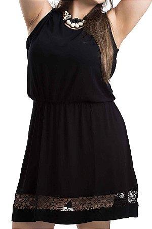 Vestido Viscolycra com Renda na Barra  Berthage Preto Plus Size