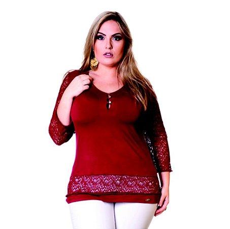 Blusa Visco e Renda Geórgia Lepoque Bordô Plus Size