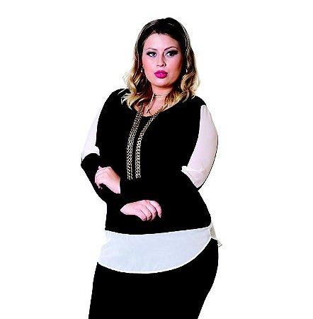 Blusa Visco Com Recortes em Chiffon Berthage Preta Plus Size