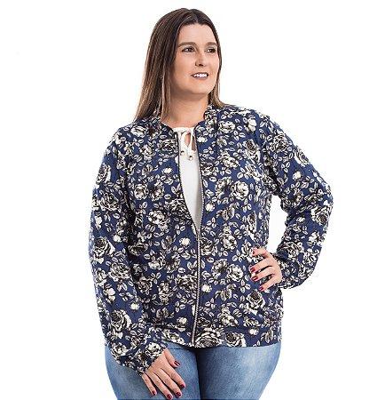 Jaqueta Bomber Estampada Azul Visco Quince Plus Size