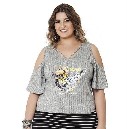 Blusa Malha Canelada com Ombro Vazado Nolita Plus Size