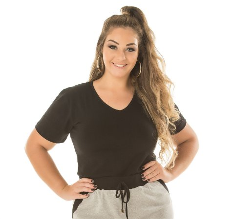 Baby Look Decote V Anabela Plus Size