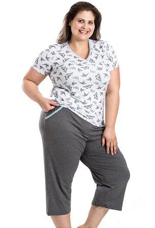 Pijama com calça pescador estampado borboletas Mensageiros dos Sonhos Plus Size
