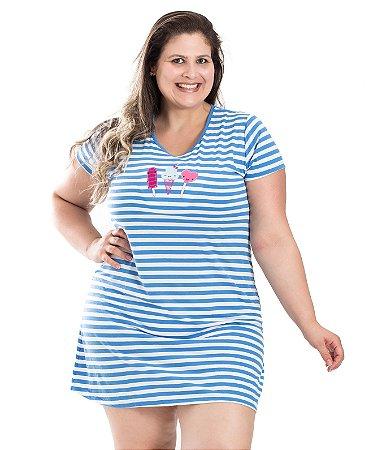 Camisola com Bordado Bela Notte Azul Plus Size