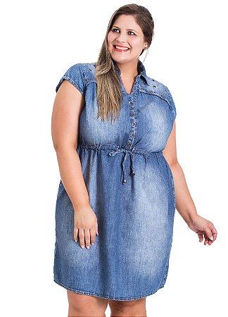 Vestido Jeans com Ilhós Stuhler Plus Size