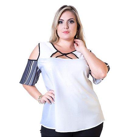 Blusa em Crepe com Listrado Lepoque Plus Size