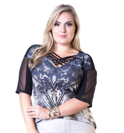 Blusa Viscolycra com Tule e Crepe Sublimado Lepoque Plus Size